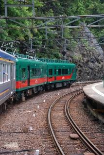 Tren històric conjuntament amb el tren regular de la linia que va a Koya